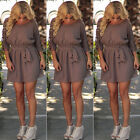 Summer Women Plus Size Loose Belted Dress Party Beach Lace Crochet Mini Sundress