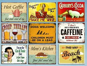 Metal signs plaques retro style Dogs caffeine Beach Gin Mom kitchen Wine Cat