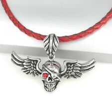 Silver Black Gothic Punk Skull Wings Pendant Braided Red Leather Choker Necklace