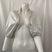 Randolph Duke The Look Womens White Silver Silk Blend Iridescent Bolero Top 14