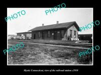 OLD LARGE HISTORIC PHOTO OF MYSTIC CONNECTICUT, THE RAILROAD STATION c1910