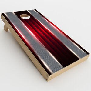 Skin Decal  for Cornhole Game Board Bag Toss (2xpcs.) / Red Metal Pattern Screen