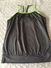 Ivivva Double Dutch Gray Neon Green Athletic Tank Bra Attached Top Size 12