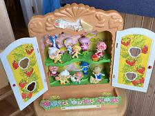 1980s VTG Strawberry Shortcake Berry Patch Carry Case Cupboard Mini PVC Doll LOT