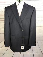 New Men's VAN HEUSEN Navy Blue 100% Wool  Blazer 44R Single Vent Silver Buttons