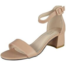 Womens Ankle Strap Shoes Ladies Shiny Party Buckle Chunky Low Heel Sandals Size UK 4 / EU 37 / US 6 Pink