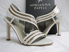 Adrianna Papell Sz 8 M Edison Vanilla Leather Open Toe Heels New Womens Shoes