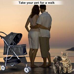 Pet Stroller Jogger Cat Dog Cage 3 Wheels Stroller Travel Folding Carrier