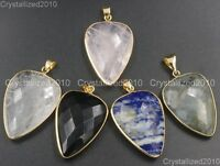 Natural Gemstones Faceted Heart Reiki Healing Pendant Necklaces Beads Gold Side