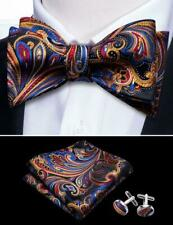 USA Mens Bow tie Self Paisley Hanky Cufflinks Set 100% Silk Wedding Formal Party