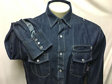 English Laundry Western Mens L  Blue Denim Pearl Snap Embroidered Shirt L/S