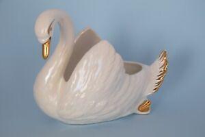 Vintage MCP Mingay Large SWAN Vase Lustre Glaze Gold Detail Planter