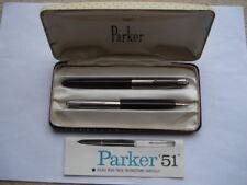 C1960S PARKER '51' LUSTALLOY CAP&DARK BURGUNDY/BROWN PEN&PENCIL SET IN ORIG BOX