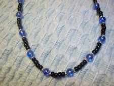 Handmade 14 inch BLACK & BLUE Glass Bead CHOKER  w/ Silver E-94
