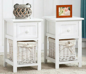Pair Of Bedside Table Unit Cabinet Wicker Basket Nightstand Drawer Storage