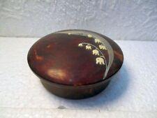 Ancien poudrier rond en bakélite décor Muguet