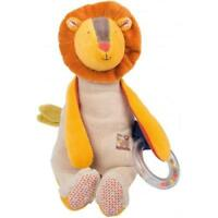 Moulin Roty Les Papoum Activity Lion Baby Teether Rattle Textures Toy Plush 36cm