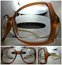 Womens CLASSIC VINTAGE RETRO Style Clear Lens EYE GLASSES Matte Brown Gold Frame