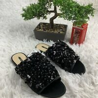 Zara Basic Black Floral Beads Rhinestones Sequins Sandal Slides Womens Size 5 35