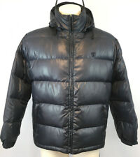 Tonino Lamborghini Metallic Blue Down Puffer Jacket Size M Spellout Embroidered