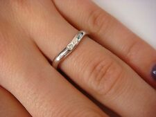 14K WHITE GOLD PLANE CURVED BAND/RING WITH SINGLE DIAMOND 3.1 GRAMS SIZE 6.75