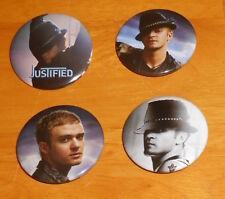 "Justin Timberlake Lot of 4 Buttons Pin Original Promo 1.75"""