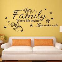 DIY PVC Wall Sticker Decal Family Quote Flower Vine Living Room Decor Mural Art