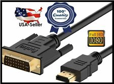 HDMI to DVI-D 24+1 Pin Monitor Display Cable Adapter Male to Male Gold Plated HD