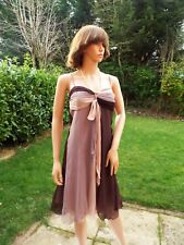 Kookai pure silk chffon layered bias dress 30s style Art deco Dusky plum 8 10