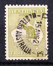 Australia 1918 Kangaroo 3d Olive 3rd Watermark Die II Used