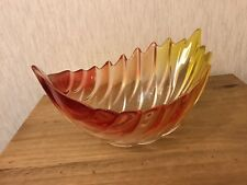 Walther glass Crystal Centerpiece Glass Leaf Shaped Bowl