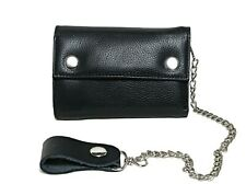 Men's New Biker Motorcycle Long TRUCK Genuine Leather Wallet / Purse Chain Black