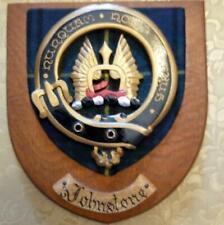More details for vintage old scottish carved clan johnstone tartan plaque crest shield vz