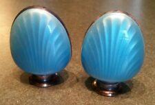 N.M. Thune Norwegian Silver 925S Blue Enamel Shell Salt and Pepper Shakers
