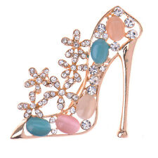 Fashion Elegant High-heeled Shoes Crystal Brooch Wedding Jewelry Christmas Gift