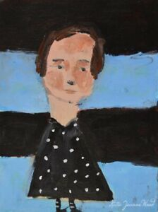 Mini Cute Girl Polka Dot Dress Painting Katie Jeanne Wood