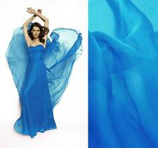 3 M.of 6 momme silk chiffon fabric 140cm wide Sheer AEGEAN BLUE #69 for Dress