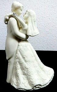 Bride and Groom Porcelain Figure by LaVie White w/Gold Accents