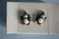 Avon Kids Petite Penguin post earrings 1993 hard plastic org box EUC
