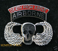 AIRBORNE DEATH FROM ABOVE HAT PIN SKULL WING US ARMY MARINES NAVY AIR FORCE WOW