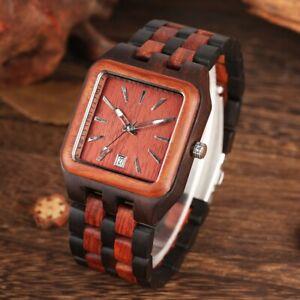 Handmade Sandal Wooden Watch Men's Quartz Wrist Watch Square Case Bamboo Strap