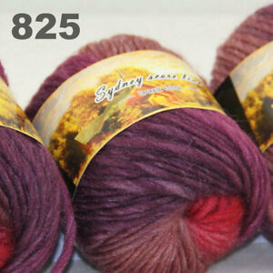 SALE LOT of 3 Skeins x 50g NEW Chunky Colorful Hand Knitting Scores Wool Yarn 25