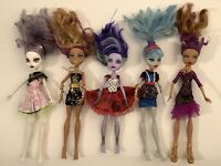 "LOT OF 5 MATTEL MONSTER HIGH DOLLS 11"" WITH CLOTHES"