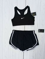 SIZE LARGE NIKE SET AIR WOMEN'S VICTORY BRA BLACK + SHORTS DRI-FIT NAVY RUNNING