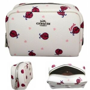Coach Cosmetic Case Bag Mini Boxy Jewelry Pouch Red Ladybug Hearts 2492