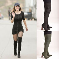 Ladies Womens Thigh High Knitted High Heel Over The Knee Casual Shoes Sizes 4-9