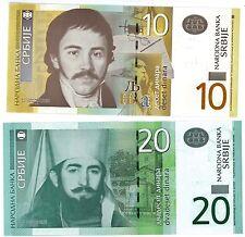 Serbia 2011 10 & 20 Dinara Crisp Uncirculated Banknotes P46 & P55A - Ships FREE