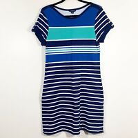 Lands End Size S Blue Striped Short Tab Sleeve Cotton Knit Casual Shift Dress