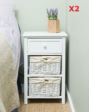 Pair of Wooden Shabby Chic Tall Bedside Unit  Night StandTable W/ Wicker Storage