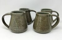 Set of 4 RAJANA Tree of Angkor Khmer Green Hand Made Pottery Mugs CAMBODIA